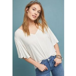 Anthropology Bordeaux White Flowy Bell Sleeve Top